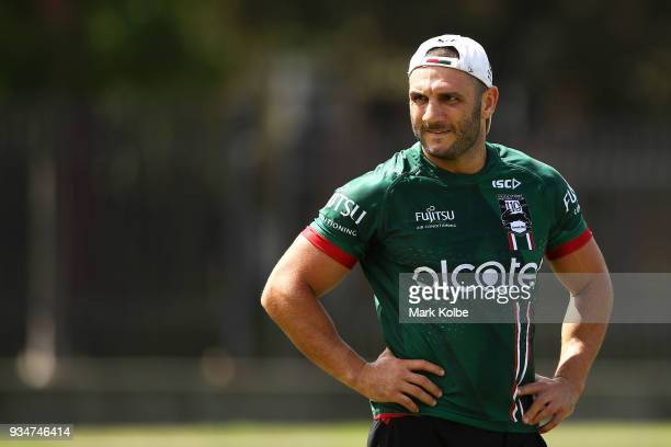 Robbie Farah watches on during a South Sydney Rabbitohs NRL Training Session at Redfern Oval on March 20 2018 in Sydney Australia