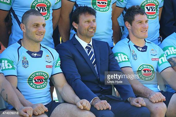 Robbie Farrah Laurie Daley and Josh Jackson pose during The Blues State of Origin team photograph at Novotel Coffs Harbour on May 20 2015 in Coffs...