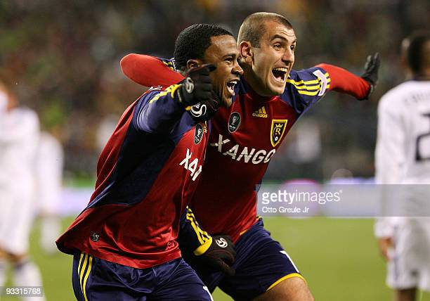 Robbie Findley of Real Salt Lake celebrates his goal in the second half with teammate Yura Movsisyan during the MLS Cup final at Qwest Field on...