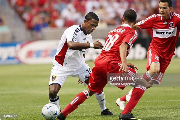 Robbie Findley of Real Salt Lake controls the ball against Mike Banner of Chicago Fire at Rio Tinto Stadium on September 12 2009 in Sandy Utah
