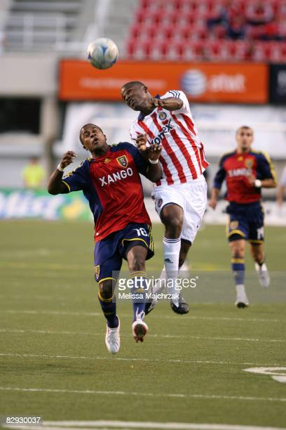 Robbie Findley of Real Salt Lake goes up for the ball against Shavar Thomas of Chivas at Rice Eccles Stadium on September 20 2008 in Salt Lake City...