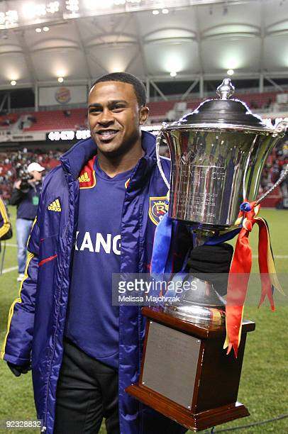 Robbie Findley of Real Salt Lake holds the Rocky Mountain Cup after the game win against the Colorado Rapids at Rio Tinto Stadium on October 24 2009...