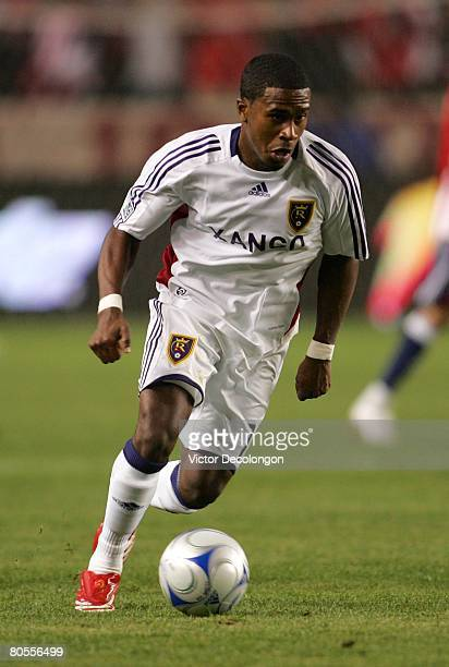 Robbie Findley of Real Salt Lake moves ball on the attack against CD Chivas USA in the first half during their MLS game at the Home Depot Center on...