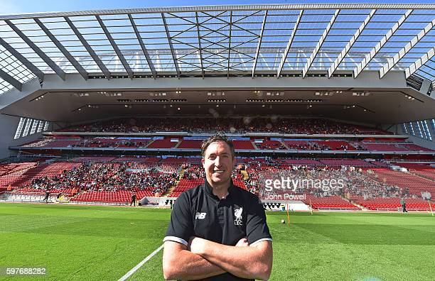 Robbie Fowler ambassaodr of Liverpool at the main stand test event at Anfield on August 29 2016 in Liverpool England