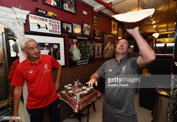 Robbie Fowler and Ian Rush legends of Liverpool FC during a visit to Lombardi's Pizza america's oldest pizzeria on July 25 2018 in New York United...
