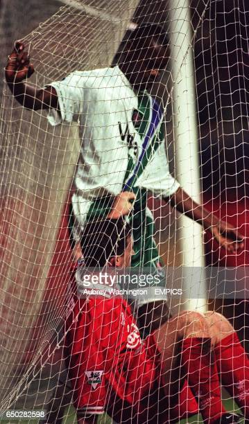 Robbie Fowler Liverpool in the back of the net with Richard Rufus Charlton Athletic