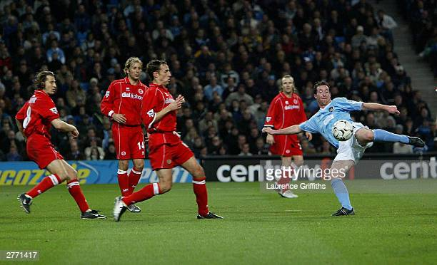 Robbie Fowler of City drives in a shot during the FA Barclaycard Premiership match between Manchester City and Middlesbrough at The City of...