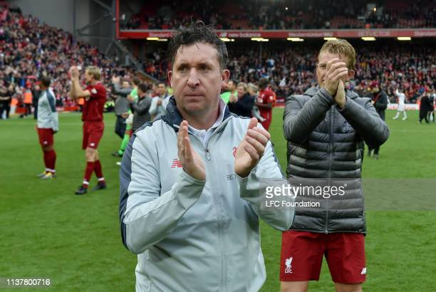 Robbie Fowler of Liverpool FC Legends showing his appreciation to the fans at the end of the friendly match between Liverpool FC Legends and AC Milan...