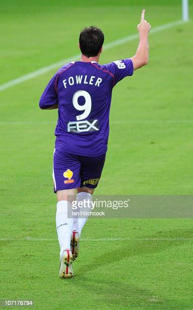 Robbie Fowler of the Glory celebrates his goal during the round 16 ALeague match between the North Queensland Fury and the Perth Glory at Dairy...