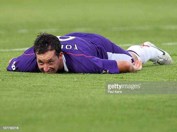 Robbie Fowler of the Glory looks on after missing a shot on goal during the round 19 ALeague match between the Perth Glory and Adelaide United at nib...