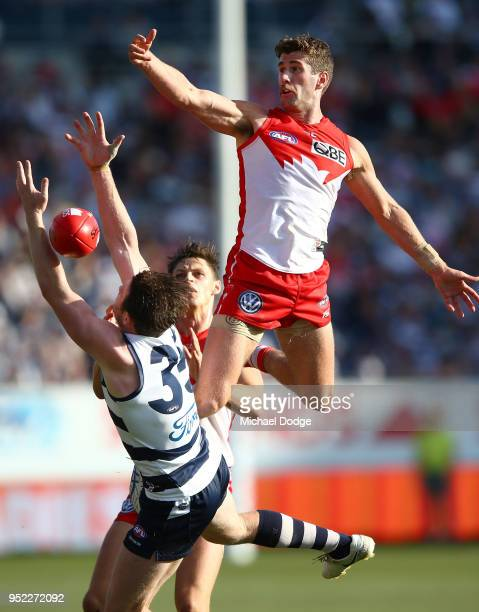 Robbie Fox of the Swans competes for the ball over Patrick Dangerfield of the Cats during the round six AFL match between the Geelong Cats and Sydney...