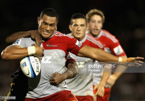 Robbie Fruean of the Crusaders is tackled during the round nine Super Rugby match between the Chiefs and the Crusaders at Bay Park Stadium on April...