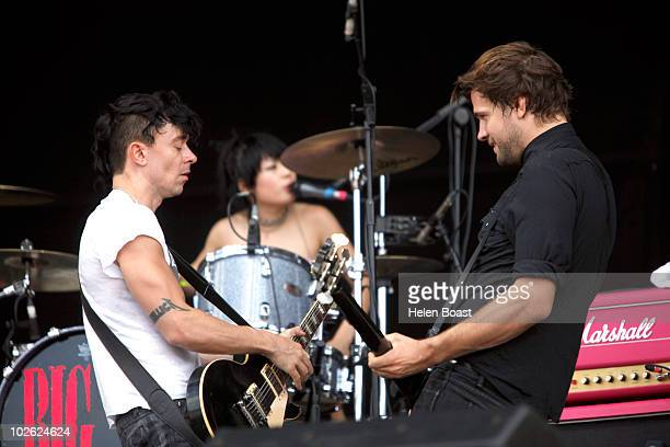 Robbie Furza and Akiko Matsuura and Leopold Ross of The Big Pink perform on stage during the second day of Wireless Festival 2010 at Hyde Park on...