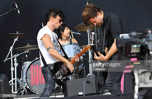 Robbie Furze Akiko Matsuura and Adam Prendergast of The Big Pink perform on stage during the second day of the Wireless Festival in Hyde Park on July...