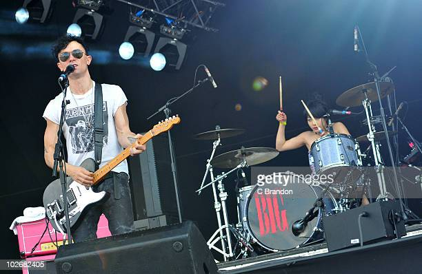 Robbie Furze and Akiko Matsuura of The Big Pink perform on stage during the second day of the Wireless Festival in Hyde Park on July 3 2010 in London...