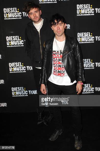 Robbie Furze and Milo Cordell of The Big Pink arrive at the DieselUMusic World Tour Party held at the University of Westminster on October 1 2009 in...