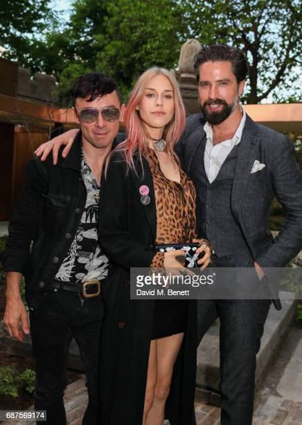 Robbie Furze Mary Charteris and Jack Guinness attend the Jimmy Choo Mytheresacom dinner at The Garden Museum on May 23 2017 in London England