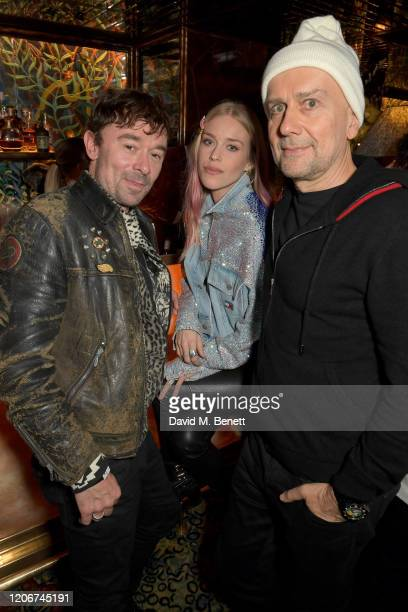 Robbie Furze Mary Charteris and Marc Quinn attend the TOMMYNOW after party at Annabels on February 16 2020 in London England