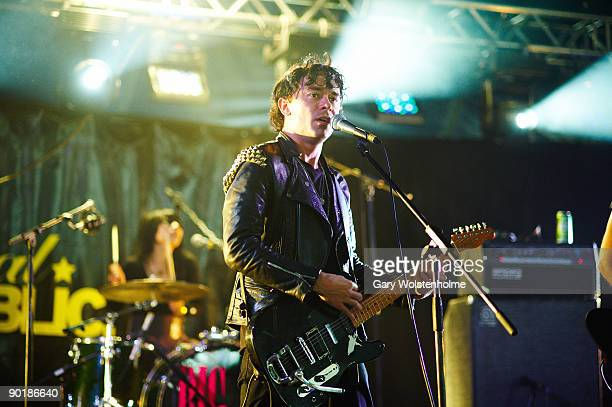 Robbie Furze of The Big Pink performs on stage on the last day of Leeds Festival at Bramham Park on August 30 2009 in Leeds England
