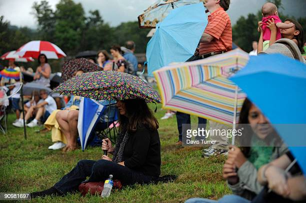 Robbie Gaumond a resident of Lake Lure attends a memorial service for actor Patrick Swayze on September 19 at Firefly Cove in Lake Lure North...