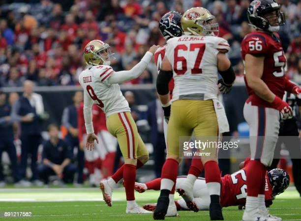 Robbie Gould of the San Francisco 49ers kicks a field goal in the fourth quarter against the Houston Texans at NRG Stadium on December 10 2017 in...