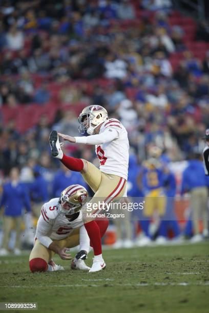 Robbie Gould of the San Francisco 49ers kicks a PAT during the game against the Los Angeles Rams at the LA Memorial Coliseum on December 30 2018 in...