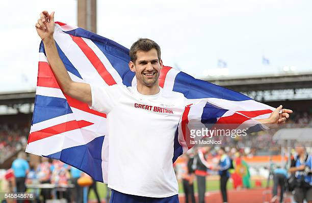 Robbie Grabarz of Great Britain celebrates after winning silver in the final of the mens high jump on day five of The 23rd European Athletics...