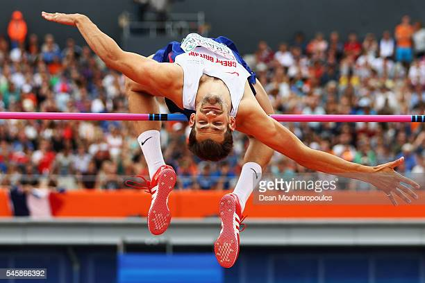 Robbie Grabarz of Great Britain in action during the final of the mens high jump on day five of The 23rd European Athletics Championships at Olympic...