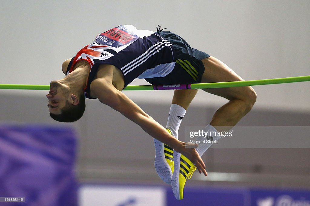 Robbie Grabarz on hhis way to victory in the men's high jump final during day two of the British Athletics European Trials & UK Championship at the English Institute of Sport on February 10, 2013 in Sheffield, England.