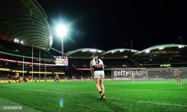 Robbie Gray of Port Adelaide lines up from the 50 metre line to kick a goal during the round 20 AFL match between the Adelaide Crows and the Port...