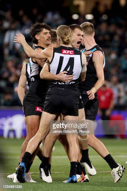 Robbie Gray of the Power celebrates a goal during the 2021 AFL Round 23 match between the Adelaide Crows and the North Melbourne Kangaroos at...