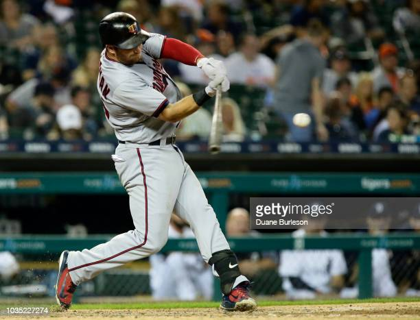 Robbie Grossman of the Minnesota Twins doubles against the Detroit Tigers during the seventh inning at Comerica Park on September 17 2018 in Detroit...