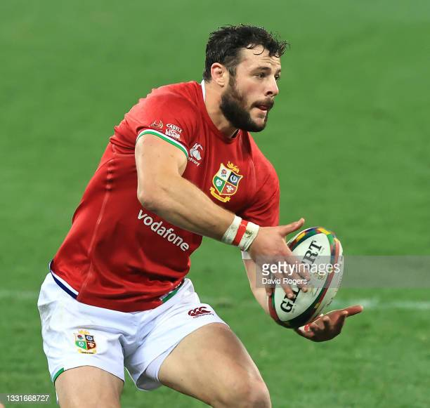 Robbie Henshaw of the Lions passes the ball during the 2nd test match between South Africa Springboks and the British & Irish Lions at Cape Town...