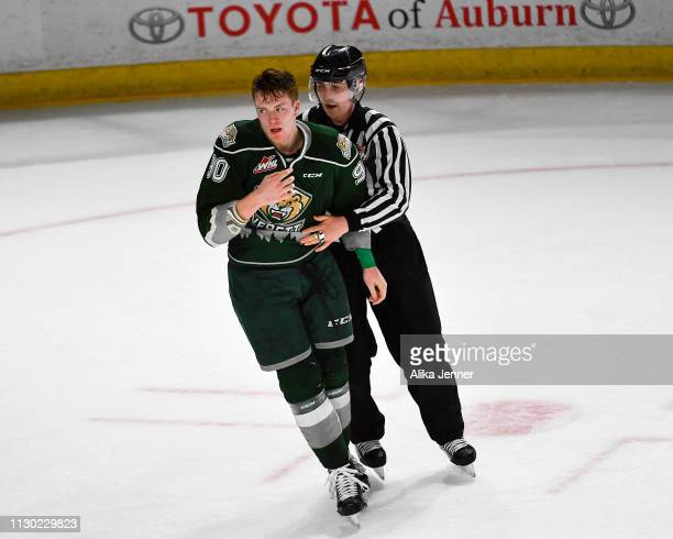 Robbie Holmes of the Everett Silvertips is kicked out of the game after a brawl at accesso ShoWare Center on February 16 2019 in Kent Washington