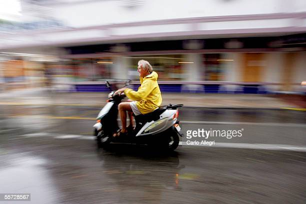 Robbie Hopcraft rides his scooter home from downtown in advance of Hurricane Rita passing by the low laying island chain September 20 2005 in Key...
