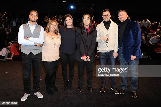 Robbie Justino, Maria McQuay, Lara Stolman, Kelvin Truong, Mikey McQuay Jr. And Mike McQuay pose together for a photo on stage following the New York...