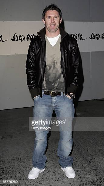 Robbie Keane arrives at the launch of Nike's 'Joga Bonito' at the Truman Brewery on February 7 2006 in London England Wayne Rooney Rio Ferdinand...