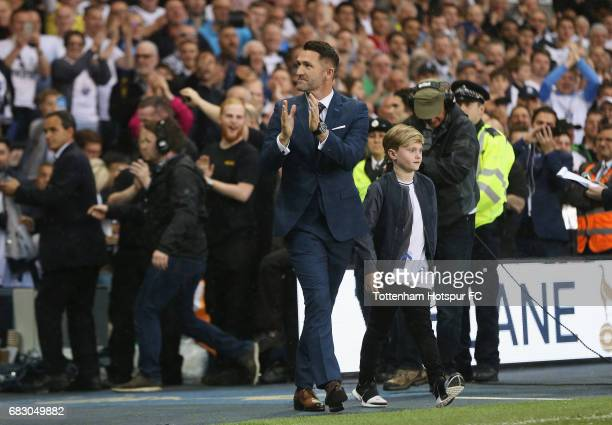 Robbie Keane claps the Tottenham Hotspur fans during the closing ceremony after the Premier League match between Tottenham Hotspur and Manchester...