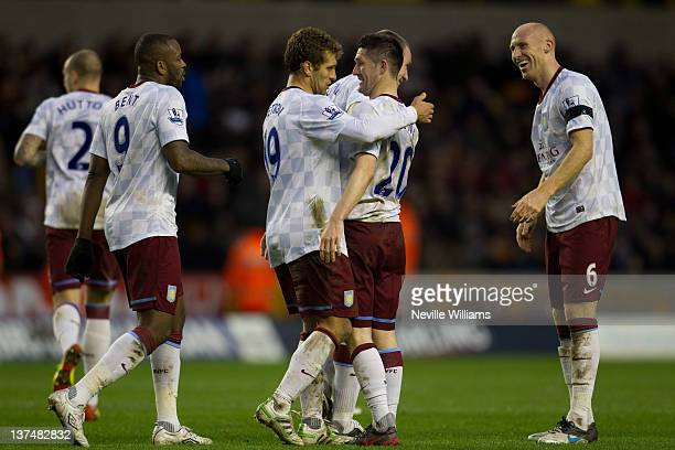 Robbie Keane of Aston Villa celebrates his second goal during the Barclays Premier League match between Wolverhampton Wanderers and Aston Villa at...