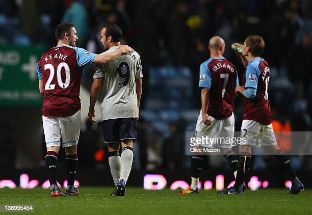 Robbie Keane of Aston Villa greets Landon Donovan of Everton after the Barclays Premier League match between Aston Villa and Everton at Villa Park on...