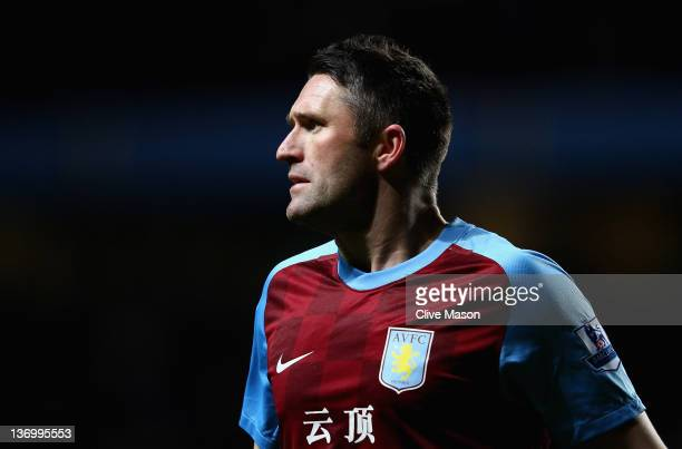 Robbie Keane of Aston Villa in action during the Barclays Premier League match between Aston Villa and Everton at Villa Park on January 14 2012 in...