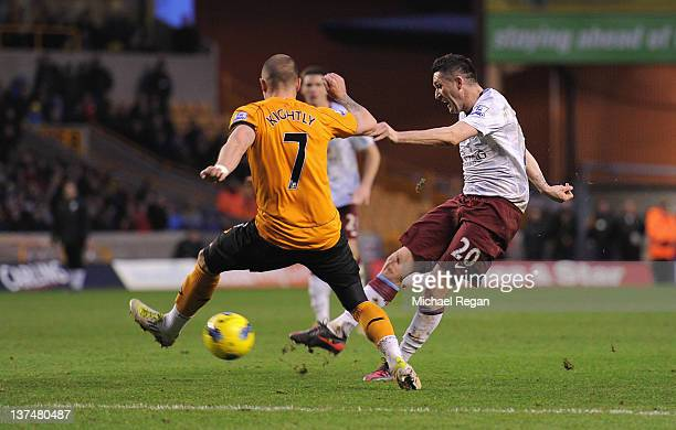 Robbie Keane of Aston Villa scores to make it 32 during the Barclays Premier League match between Wolverhampton Wanderers and Aston Villa at Molineux...