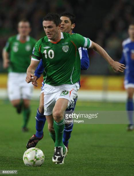 Robbie Keane of Ireland runs with the ball during the World Cup qualifying match between the Republic of Ireland and Cyprus at Croke Park on October...