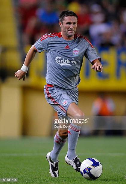 Robbie Keane of Liverpool during the pre-season friendly match between Villarreal and Liverpool at the Madrigal stadium on July 30, 2008 in...