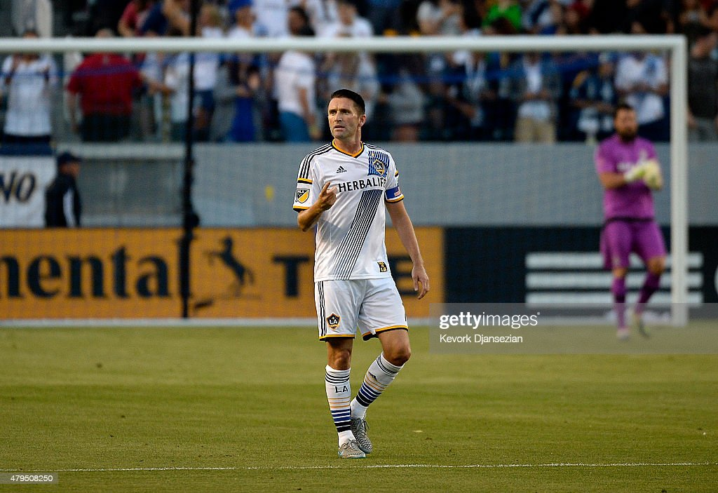 Robbie Keane #7 of Los Angeles Galaxy celebrates after scoring on a penalty kick against Toronto FC on July 4, 2015 at StubHub Center in Carson, California.