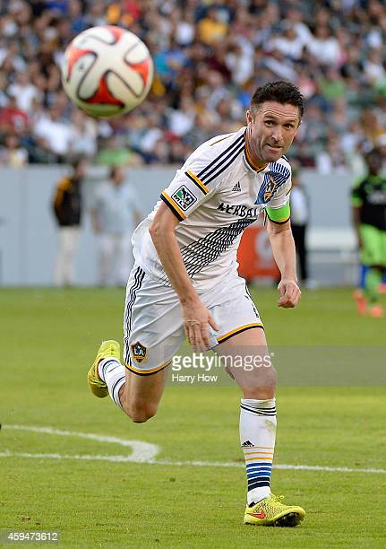 Robbie Keane of Los Angeles Galaxy runs after a ball to the corner during a 10 win over the Seattle Sounders FC in the Western Conference Final at...