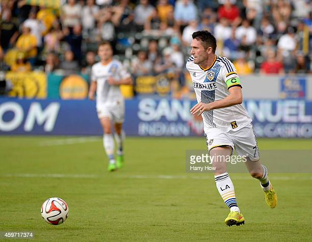 Robbie Keane of Los Angeles Galaxy starts an attack against the Seattle Sounders FC during the Western Conference Final at StubHub Center on November...