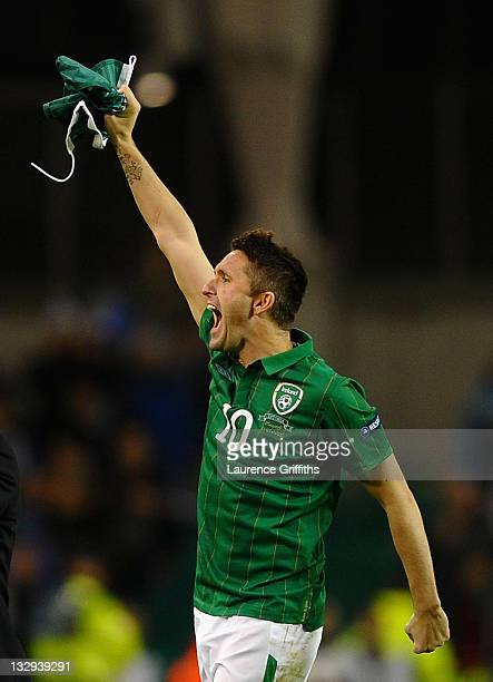 Robbie Keane of Republic of Ireland celebrates at the end of the match during the EURO 2012 Qualifier Play Off Second Leg match between Republic of...