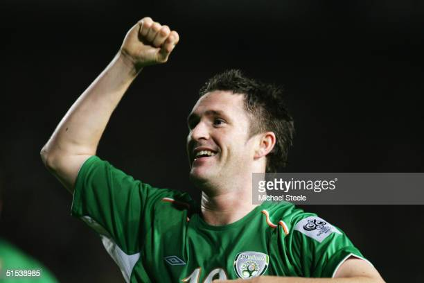 Robbie Keane of Republic of Ireland celebrates during the FIFA World Cup Group 4 qualifying match between Ireland and Faroe Islands at Lansdowne Road...