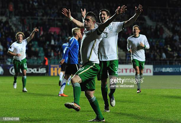 Robbie Keane of Republic of Ireland celebrates his goal during the Estonia and Republic of Ireland EURO 2012 qualifier play off first leg at the A Le...